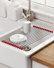 Over the Sink Roll Up Drying Mat - Easy Store Metal Roll Up Dish Drying Mat