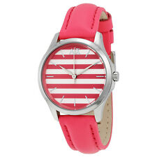 Armani Exchange Pink and White Striped Dial Pink Leather Strap Ladies Watch
