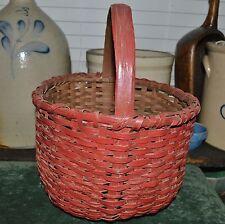 """Antique Maine Handmade Picking Basket Woven Splint AAFA Red Paint Exter 14""""x 11"""""""