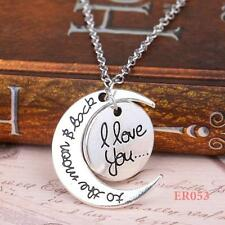 "Charm HQ  ""I LOVE YOU TO THE MOON AND BACK"" Pendant Chain Necklace 20"""