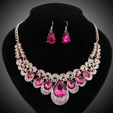Gold Plated Pink Crystal Gem Bridal Necklace Earring Wedding Party Jewelry Set