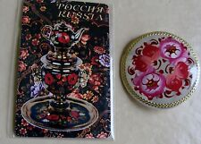 Russian traditional lacquered brooch pin floral flowers hand-painted + magnet #1