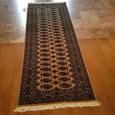21/2x12 Runner hand knotted oriental rug Beije 100% Wool Pile Bokhara Design.
