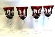 4 VILLEROY BOCH IMPERIAL CRYSTAL WINE HOCK GLASS CUT RUBY TO CLEAR