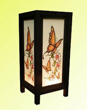 Handmade Asian Oriental Butterfly Bedside Table Light or Floor Wood Paper Lamp