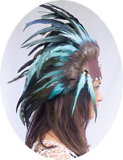 Unique Indian Headdress, Native American - Small Beads -Real Feathers- Turquoise