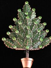 COPPER RHINESTONE TOPIARY HOLLY LEAFS LEAF CHRISTMAS TREE PIN BROOCH JEWELRY 3""