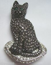 Signed Swan Swarovski Black Diamond Cat Brooch Pin