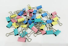 40 X 20MM MINI FOLDBACK BINDER BULLDOG PAPER FILING CLIPS ASSORTED COLOURS