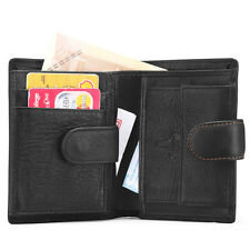 Men Genuine Leather Multi Compartment Tri Fold Money Coin Travel Card Wallet