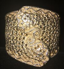 Castlecliff Hinged Filigree Bangle Bracelet - Very Good Condition