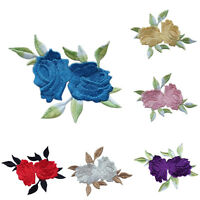 1 x Rose Flower Leaves Embroidery Iron On Applique Patch 8*6.5cm 6 Colors PE