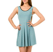 New S 10 Skater Stretch Vintage Blue Polka dot Dress banned Jax Roller Derby