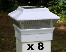 8 White Solar Light Fence Post Caps - For 4X4 PVC /  VINYL Posts - PL244W