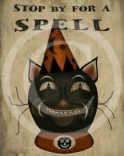 Primitive Fall Halloween Spooky Black Cat Spells Harvest Print 8x10