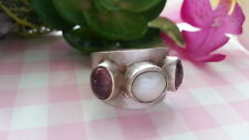 Vintage MADELINE ANDREE Pearl Solid Ring Real Sterling Silver*Size 9.5 *K074