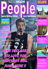 LUKE HEMMINGS 5SOS Personalised Birthday'MAGAZINE STYLE' Card ANY NAME/RELATION!