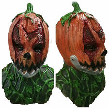 Scary Orange Pumpkin Head Mask Movable Mouth Jaw Halloween Horror Jack O'Lantern
