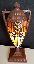 FRANK LLOYD WRIGHT STYLE TABLE LAMP/LIGHT/TORCHIERE SHAPE LEADED GLASS