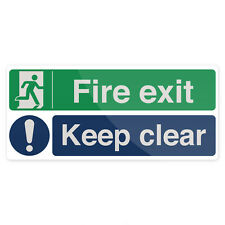 Fire Exit Keep Clear Sign 450 x 200mm Rigid  Signage Safety Signs
