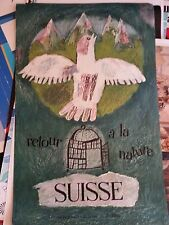 swiss original travel poster signed Lreux return to nature 25x39