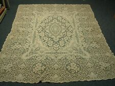 "LOVELY VINTAGE COTTON QUAKER LACE TABLECLOTH #4190 with FLOWERS 66"" X 92"""