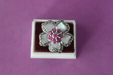 Nice 9.25 Silver Ring With Marcasite - Ruby - Mother-Of-Pearl Size N - O - P - Q
