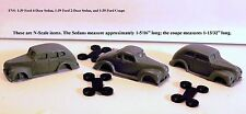 1939-40 FORD COUPE/2-DOOR SEDAN/4-DOOR SEDAN - 1 EACH - N SCALE - FNS