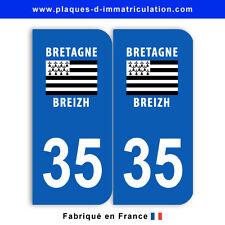 Stickers pour plaque département 35 Ile-et-vilaine (jeu de 2 stickers)