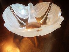 """Stunning Crystal Bowl With Three Frosted Birds with Open Wings 10.5"""""""