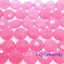 "15.5"" Strand PINK CANDY JADE 12mm Faceted Coin Beads BOGO"
