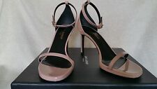 Saint Laurent Jane Ankle Strap Leather Sandal 36 6 Patent low heel Pink Rose
