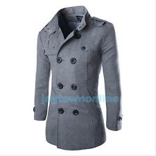Fashion Coat Double Breasted Peacoat Long Men Jacket Winter Outerwear Dress Top