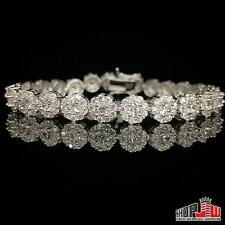 White Gold Finish .925 Silver Simulated Diamond Bracelet Cluster Style Link New