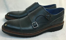 Oliver Sweeney Dark Navy Behren Leather Double Monk Strap Shoes. UK 8.