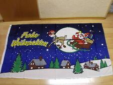 Fahnen Flagge Frohe Weihnachten Rentier Schlitten Blau Neu - 90 x 150 cm
