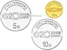 5 + 10 + 50 Yuan G20 Hangzhou Summit Gipfel China Silber + Gold Set PP 2016