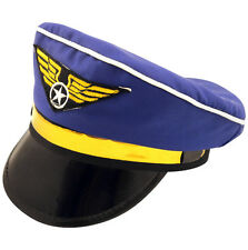 Azul Y Oro Sombrero Gorra Piloto Aviador de aire Fancy Dress Costume Accesorio H36 159
