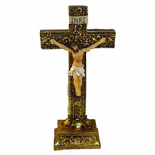 "Jesus on the Cross Crucifix Religion Free Standing Statue Decor 8"" Height"