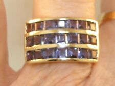 10K SOLID GOLD APPROX. 2 CTW PURPLE STONE BAND RING! ELEGANT CLASSIC!