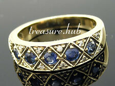 R275 Genuine 9ct Yellow Gold SOLID Natural Sapphire Diamond Eternity Ring size O