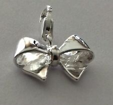 BEAUTIFUL SILVER BOW CLIP ON CHARM FOR BRACELETS - 925 S/PLATE-  VISIT MY SHOP