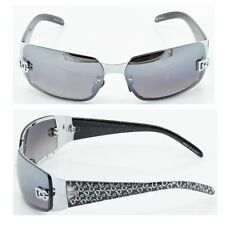 Women DG Sunglasses Eyewear Rectangular Rimless Wrap Shades Black Silver 5024