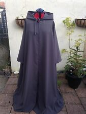 long hooded cloak with sleeves  dark grey