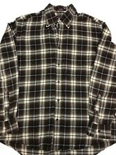 Mens Nordstrom Medium Cotton Flannel Shirt  Brown Blue White Plaid Nice!!