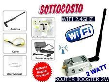 AMPLIFICATORE SEGNALE WIRELES ANTENNA ROUTER BOOSTER 2W ACCESS POINT WIFI 2.4GHZ