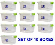 10 x 3.5L Clippy Box Plastic Clear Storage Boxes Strong With Lid TML803