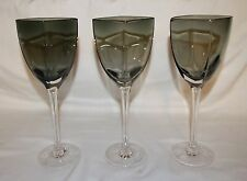 Smokey Black Crystal Wine Glasses- Square Bowl, Frosted Geometric Design on Feet