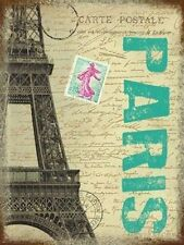 Paris Post Card France City Eiffel Tower Stamp Gift Small Metal/Tin Sign