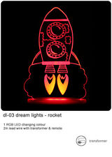 Rocket remote controlled LED Night Light - with sleep timer and colour changing